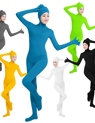 cheap Zentai Suits-Zentai Suits Catsuit Skin Suit Ninja Cosplay Adults' Lycra® Cosplay Costumes Sex Women's Black / Green / White Solid Color / High Elasticity