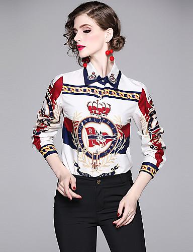 billige Dametopper-Skjorte Dame - Bokstaver, Trykt mønster Elegant Hvit