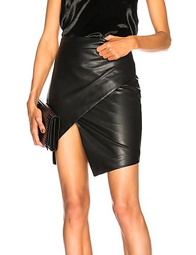 preiswerte Hosen & Röcke aus Leder-Damen Sexy PU Mini Bodycon Röcke - Solide Schwarz M L XL