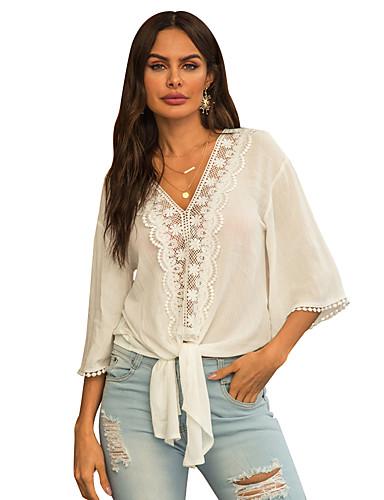 billige Dametopper-Skjorte Dame - Ensfarget / Blomstret / 3D, Sløyfe / Lapper / Broderi Grunnleggende / Gatemote Hvit Hvit