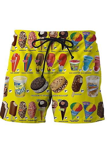 Homens Estampado Cueca Boxer - Tamanho Asiático Cintura Média Amarelo M L XL