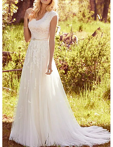 cheap Wedding Dresses-A-Line V Neck Sweep / Brush Train Lace / Tulle Regular Straps Vintage Illusion Detail Wedding Dresses with Sashes / Ribbons / Buttons 2020