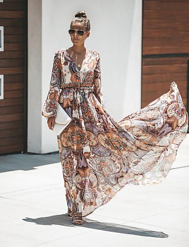 levne Maxi šaty-Dámské Základní Pouzdro Šifón Šaty - Geometrický Barevné bloky, Nabírané šaty Rozparek Šněrování Maxi