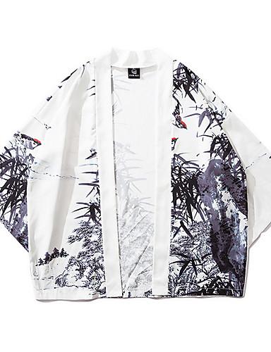 levne Pánská saka a kabáty-Pánské Denní Základní EU / US velikost Standardní kimono Jacket, Geometrický Bez límce Dlouhý rukáv Polyester Bílá / Volné