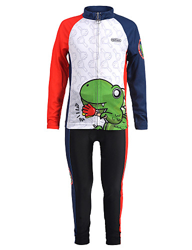 cheap Cycling-Nuckily Boys' Girls' Long Sleeve Cycling Jersey with Tights - Kid's Winter Summer Spandex Red+Blue Dinosaur Bike Clothing Suit Windproof UV Resistant Anatomic Design Quick Dry Moisture Wicking Sports