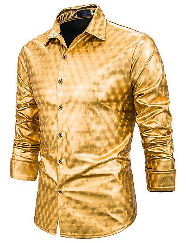 Homens Camisa Social Básico Estampado, Geométrica Branco Dourado