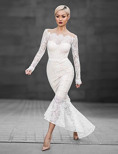 voordelige Maxi-jurken-Dames Verfijnd Elegant Bodycon Schede Jurk - Effen, Kant Geborduurd Lace Trim Maxi Wit