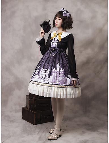 preiswerte Lolita Kleider-Künstlerisch / Retro Classic Lolita Franz?sisch Kleid Mädchen Weiblich Japanisch Cosplay Kostüme Dunkelviolett Muster Andere Schleife Bischof Langarm Knie-Länge