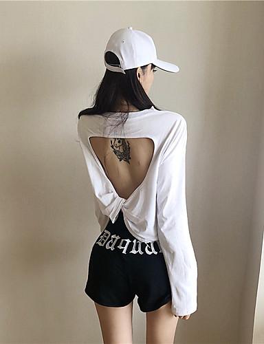 billige T-skjorter til damer-T-skjorte Dame - Ensfarget, Åpen rygg / Lapper Grunnleggende Svart