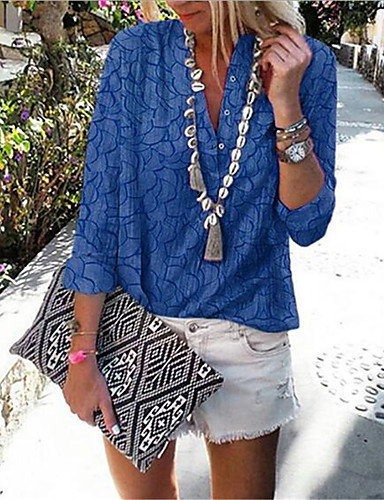 billige Dametopper-Skjorte Dame - Geometrisk / Slangemønster, Lapper / Trykt mønster Bohem / Punk & Gotisk Lilla