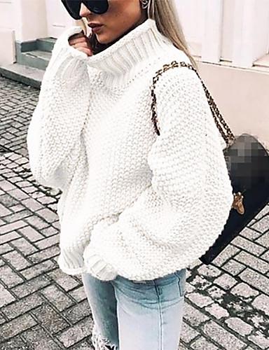 tanie Topy damskie-Damskie Solidne kolory Długi rękaw Luźna Pulower Sweter sweter, Golf Jesień / Zima Czarny / Biały / Fioletowy S / M / L