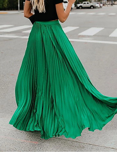 cheap Women's Skirts-Women's Holiday Daily Wear Street Active Streetwear Sophisticated Maxi Swing Skirts Solid Colored Pleated Patchwork