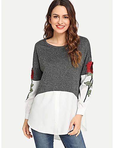 billige Skjorter til damer-Skjorte Dame - Blomstret / Fargeblokk, Lapper / Broderi Grunnleggende Blå