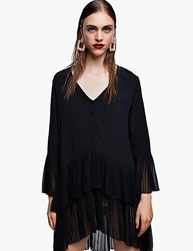 levne Maxi šaty-Dámské Základní Elegantní A Line Little Black Šifón Šaty - Jednobarevné, Nabírané šaty Plisé Midi