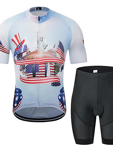 povoljno Odjeća za vožnju biciklom-MUBODO American / USA Kip slobode Muškarci Kratkih rukava Biciklistička majica s kratkim hlačama - Crno bijela  / Bicikl Sportska odijela Prozračnost Ovlaživanje Quick dry Sportski Til Brdski