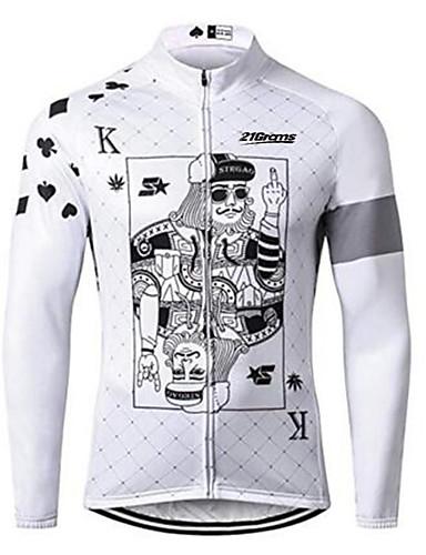 povoljno Odjeća za vožnju biciklom-21Grams Poker Muškarci Dugih rukava Biciklistička majica - Crno bijela  / Bicikl Biciklistička majica Majice UV otporan Prozračnost Ovlaživanje Sportski 100% poliester Brdski biciklizam biciklom na