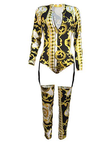 billige Jumpsuits og sparkebukser til damer-Dame Grunnleggende Gull Kjeledresser, Geometrisk S M L