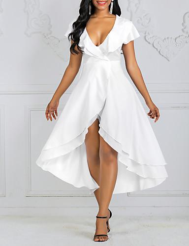 levne Maxi šaty-Dámské Sexy A Line Šaty - Jednobarevné Midi Do V