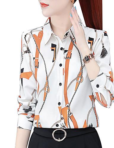 billige Dametopper-Skjorte Dame - Blomstret, Trykt mønster Chinoiserie Hvit