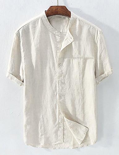 levne Pánské košile-Pánské - Jednobarevné Základní EU / US velikost Košile, Patchwork Podšívka Stojáček Bílá
