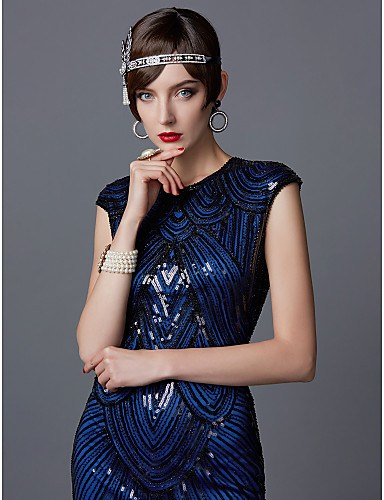 cheap Cosplay & Costumes-The Great Gatsby Charleston 1920s Roaring 20s Flapper Dress Cocktail Dress Ball Gown Women's Sequins Tassel Costume Black / Blue Black / Red+Black Vintage Cosplay Party Homecoming Prom Sleeveless