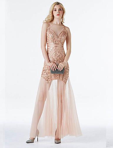 levne Maxi šaty-Dámské Elegantní Pouzdro Šaty - Geometrický, Flitry Síťka Cvočky Maxi