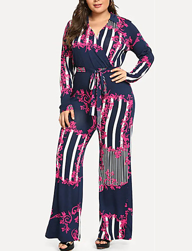 billige Jumpsuits og sparkebukser til damer-Dame Grunnleggende Svart Fuksia Blå Sparkedrakter, Geometrisk Snorer S M L
