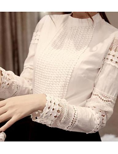 billige Topper til damer-T-skjorte Dame - Ensfarget, Blonde / Utskjæring Forretning / Grunnleggende Hvit