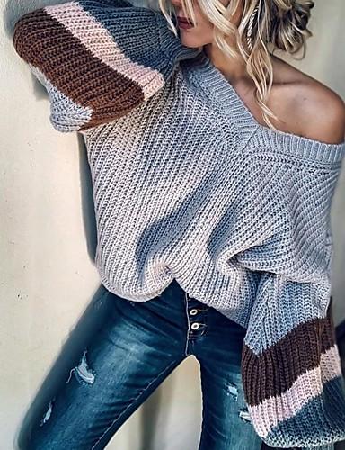 preiswerte Sweater mit Muster-Damen Gestreift / Einfarbig / Solide Langarm Lose Pullover Pullover Jumper, V-Ausschnitt / Ein-Schulter / Übergroßen Kragen Herbst / Winter Weiß / Gelb / Grau S / M / L