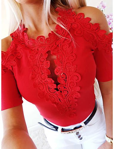 povoljno Ženske majice-Majica s rukavima Žene - Osnovni Kauzalni Jednobojni Čipka Obala