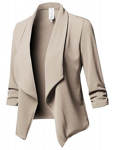 levne Dámské blejzry a bundy-Dámské Práce Sofistikované Podzim zima Větší velikosti Standardní Bunda, Jednobarevné Spadlý nabíraný výstřih Dlouhý rukáv Polyester Plisé Černá / Fialová / Bílá / Nahoře nabírané