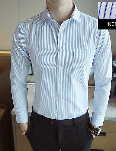 preiswerte Hemden-Herrn Gestreift - Grundlegend Hemd Leicht Blau