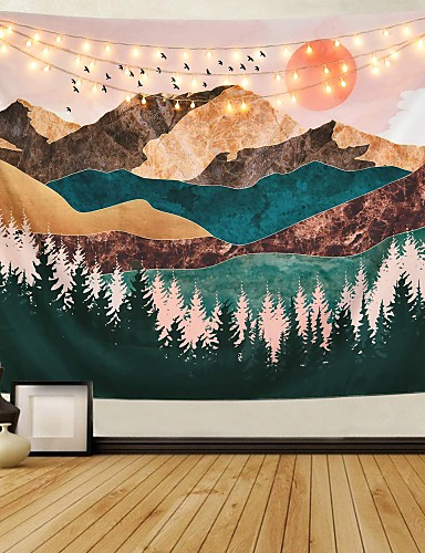 cheap Home Decor Best Sellers-Mountain Tapestry Forest Tree Tapestry Sunset Tapestry Nature Landscape Tapestry Wall Hanging For Room