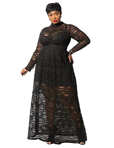 voordelige Maxi-jurken-Dames Street chic Elegant A-lijn Schede Jurk - Effen, Kant Geplooid Maxi Rood