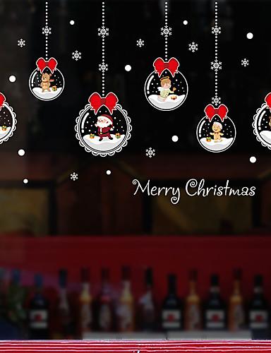 billige Veggklistremerker-jule tegneserie vindu film& klistremerker dekorasjon mønstret / jul geometrisk / karakter pvc (polyvinylklorid) vindu klistremerke / morsomt