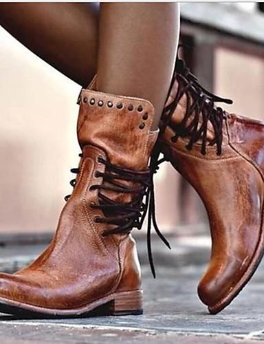 billige Shoes & Bags Must-have-Dame Støvler Komfort Sko Flat hæl Rund Tå PU Støvletter Høst vinter Svart / Brun / Grå
