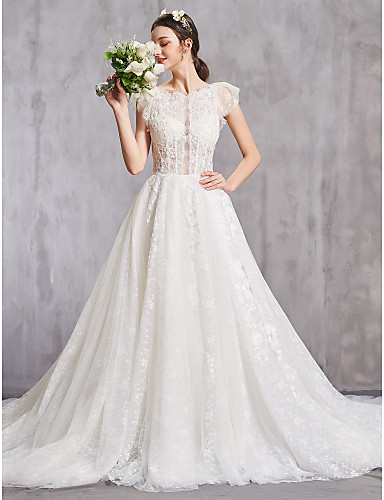 cheap Wedding Dresses-A-Line Jewel Neck Cathedral Train Lace Cap Sleeve Sexy Wedding Dresses with Lace / Beading 2020