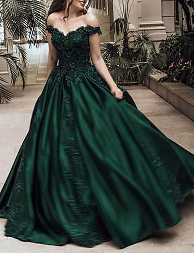 cheap Wedding Dresses-Ball Gown Off Shoulder Sweep / Brush Train Lace / Satin Sparkle / Green Prom / Quinceanera Dress with Appliques / Crystals 2020