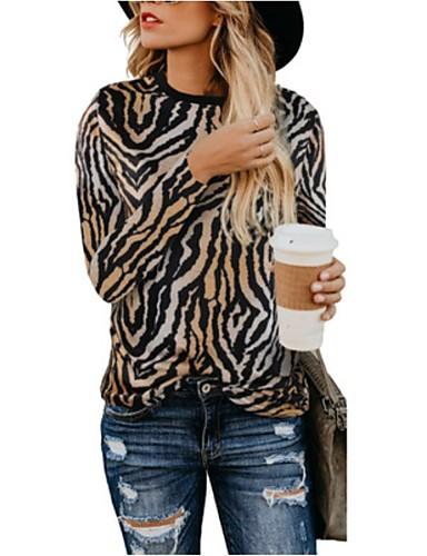 billige Dametopper-Dame Grunnleggende Genser Leopard