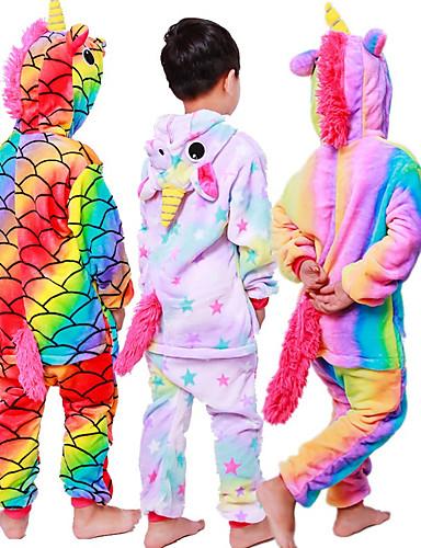 preiswerte Sale-Kinder Kigurumi-Pyjamas Unicorn Fliegendes Pferd Pony Pyjamas-Einteiler Flanell Schwarz / Weiss + Rosa / Weiß Cosplay Für Jungen und Mädchen Tiernachtwäsche Karikatur Fest / Feiertage Kostüme