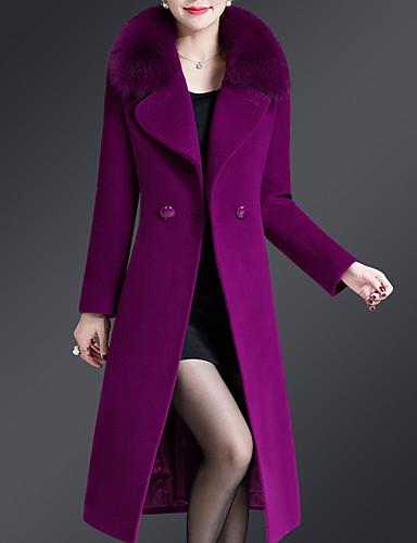 preiswerte Damenbekleidung Ausverkauf-Damen Alltag Übergrössen Lang Mantel, Solide Gekerbtes Revers Langarm Polyester Schwarz / Wein / Purpur