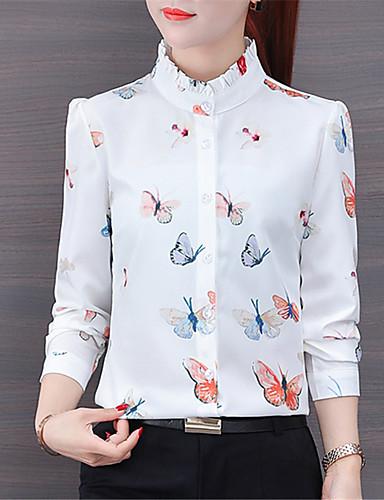 billige Dametopper-Skjorte Dame - Dyr Chinoiserie Hvit