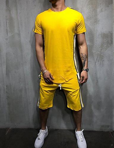 voordelige Heren T-shirts & tanktops-Heren Standaard Set Effen Zwart
