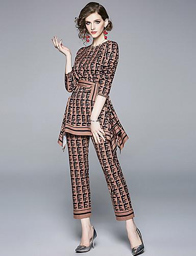 billige Dametopper-Dame Grunnleggende Skjorte Bukse Geometrisk