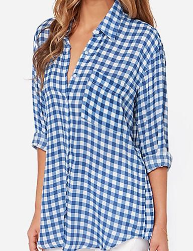 billige Dametopper-Skjorte Dame - Ruter, Trykt mønster Bohem BLå & Hvit Blå