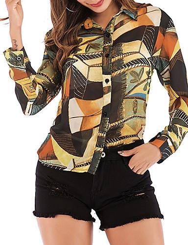 billige Dametopper-Skjorte Dame - Geometrisk Brun