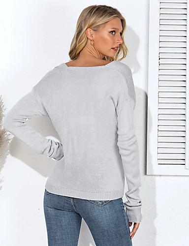 billige Gensere til damer-Dame Ensfarget Langermet Løstsittende Pullover Genserjumper, V-hals Bomull Svart / Grønn / Beige S / M / L