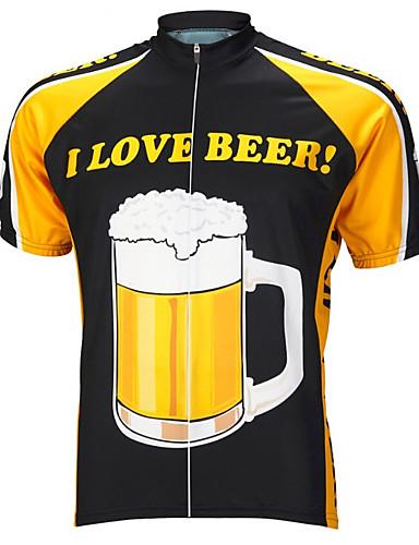 povoljno Odjeća za vožnju biciklom-21Grams Muškarci Kratkih rukava Biciklistička majica Crna / žuta Oktoberfest pivo Bicikl Majice Brdski biciklizam biciklom na cesti UV otporan Prozračnost Ovlaživanje Sportski Terilen Odjeća