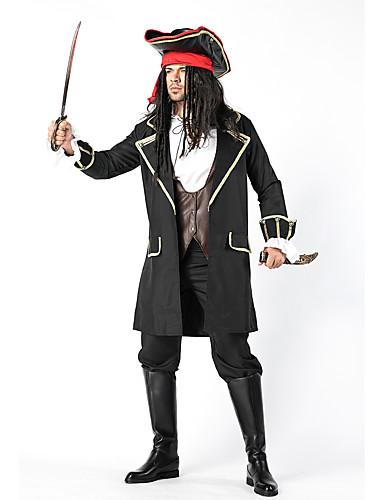 preiswerte Herrenbekleidung-Piraten der Karibik Cosplay Kostüme Austattungen Maskerade Erwachsene Herrn Cosplay Halloween Halloween Fest / Feiertage Baumwolle Polyester Schwarz Herrn Karneval Kostüme