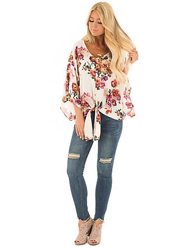 billige Dametopper-T-skjorte Dame - Blomstret, Lapper / Trykt mønster Grunnleggende Rose Rosa